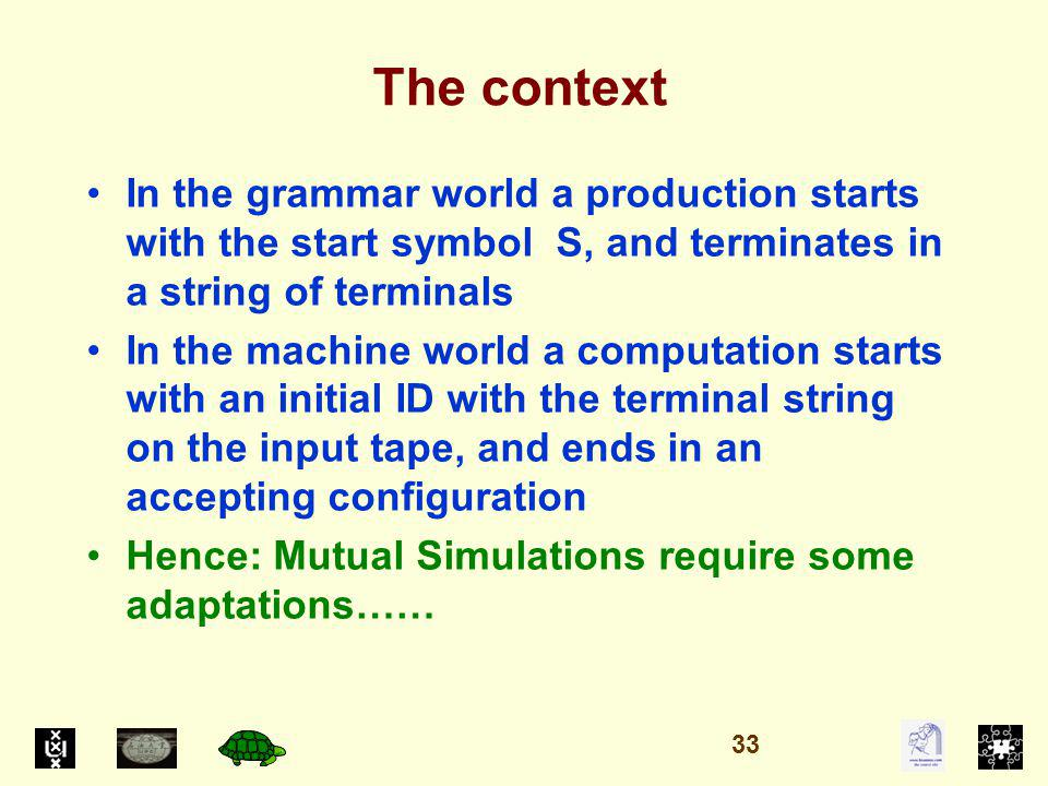 The context In the grammar world a production starts with the start symbol S, and terminates in a string of terminals In the machine world a computation starts with an initial ID with the terminal string on the input tape, and ends in an accepting configuration Hence: Mutual Simulations require some adaptations…… 33