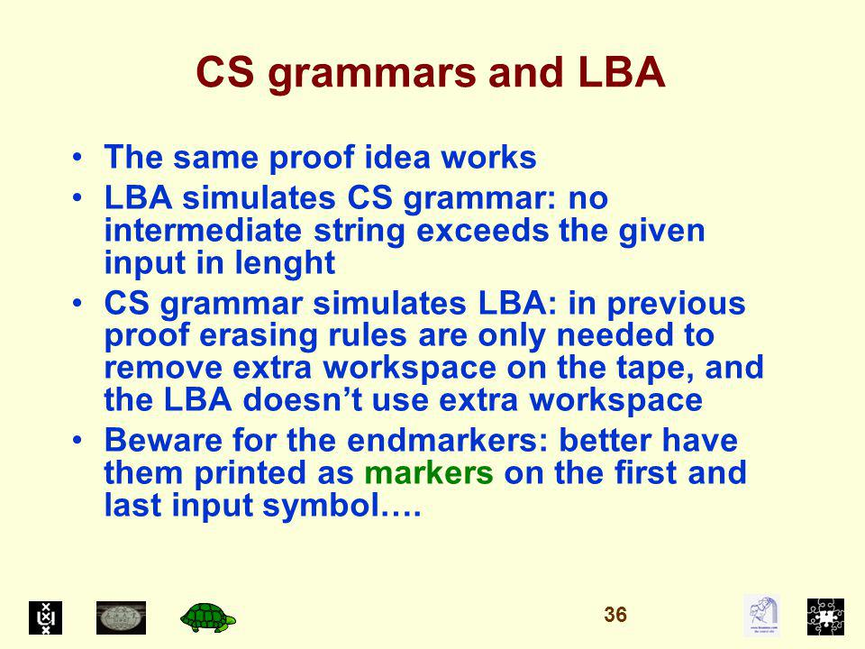 CS grammars and LBA The same proof idea works LBA simulates CS grammar: no intermediate string exceeds the given input in lenght CS grammar simulates LBA: in previous proof erasing rules are only needed to remove extra workspace on the tape, and the LBA doesnt use extra workspace Beware for the endmarkers: better have them printed as markers on the first and last input symbol….