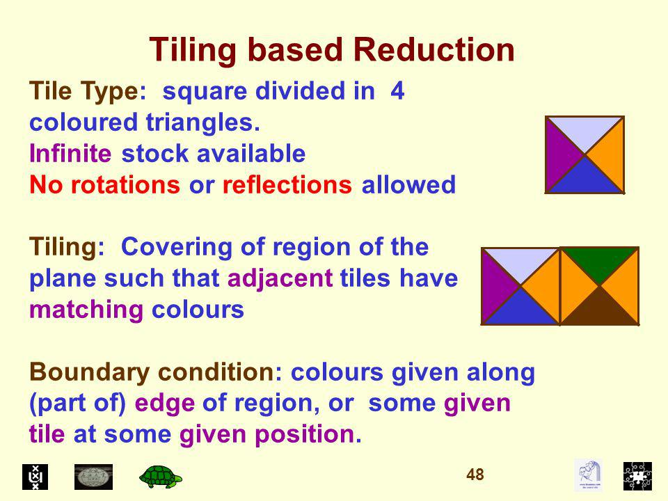 Tiling based Reduction Tile Type: square divided in 4 coloured triangles.