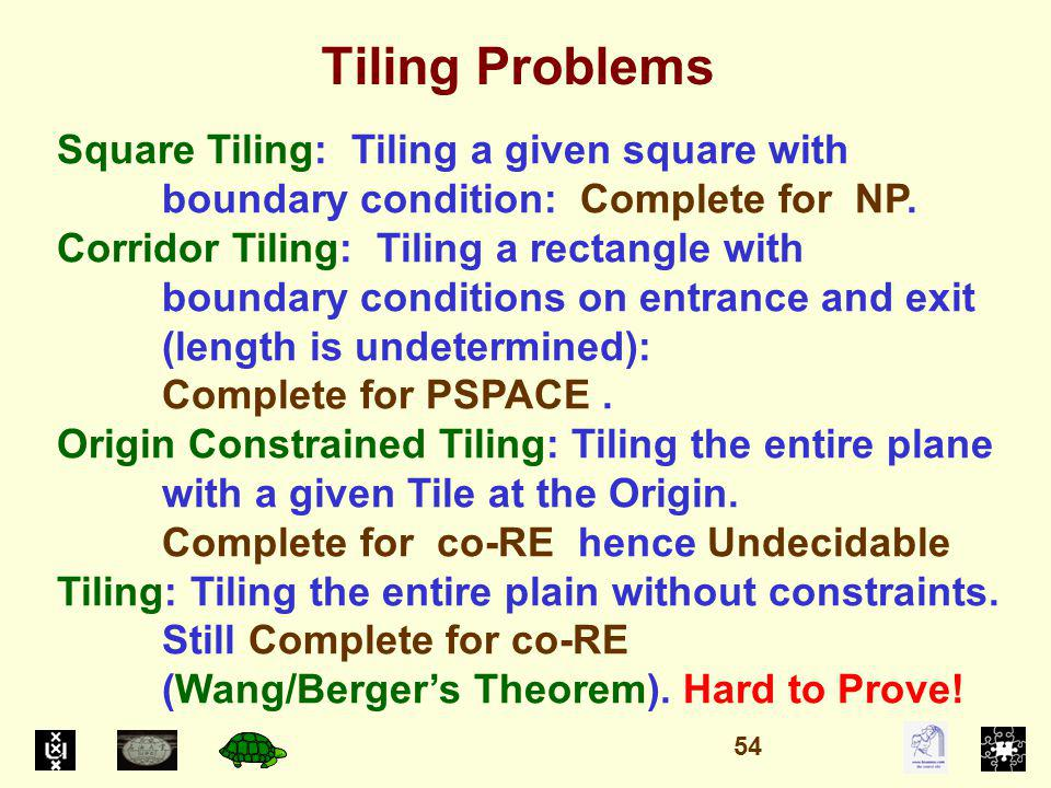 Tiling Problems Square Tiling: Tiling a given square with boundary condition: Complete for NP.