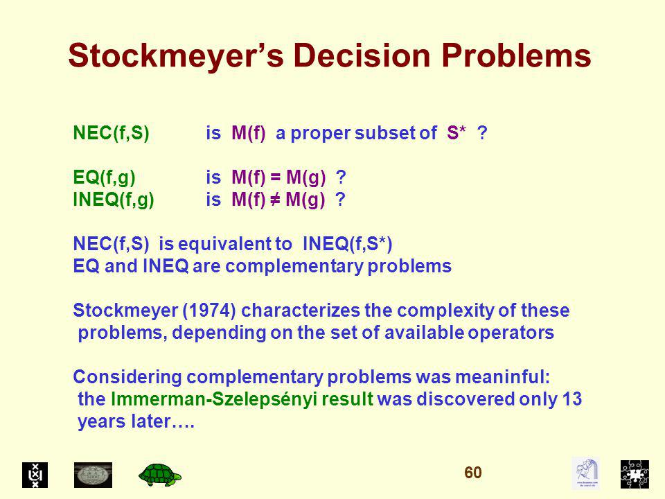 Stockmeyers Decision Problems NEC(f,S)is M(f) a proper subset of S* .