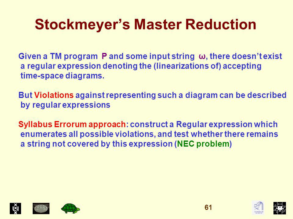 Stockmeyers Master Reduction Given a TM program P and some input string ω, there doesnt exist a regular expression denoting the (linearizations of) accepting time-space diagrams.