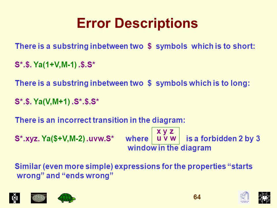 Error Descriptions There is a substring inbetween two $ symbols which is to short: S*.$.