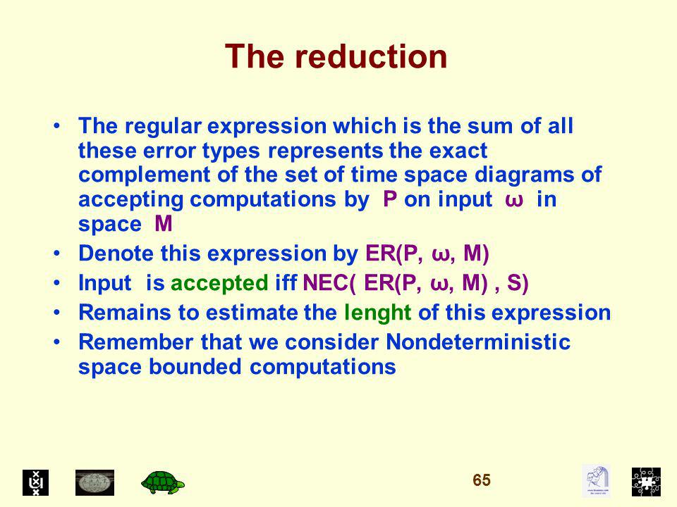 The reduction The regular expression which is the sum of all these error types represents the exact complement of the set of time space diagrams of accepting computations by P on input ω in space M Denote this expression by ER(P, ω, M) Input is accepted iff NEC( ER(P, ω, M), S) Remains to estimate the lenght of this expression Remember that we consider Nondeterministic space bounded computations 65
