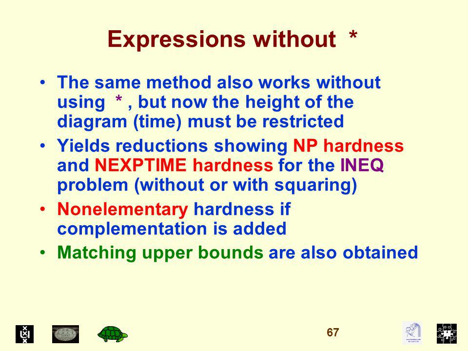 Expressions without * The same method also works without using *, but now the height of the diagram (time) must be restricted Yields reductions showing NP hardness and NEXPTIME hardness for the INEQ problem (without or with squaring) Nonelementary hardness if complementation is added Matching upper bounds are also obtained 67