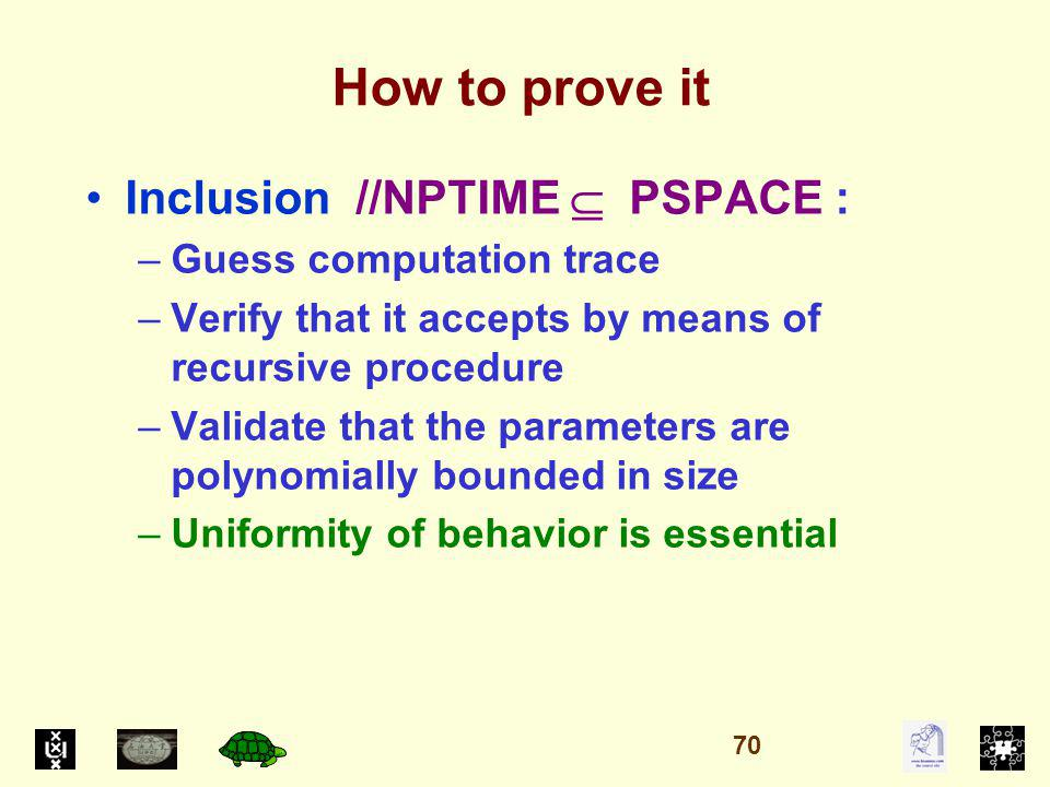 How to prove it Inclusion //NPTIME PSPACE : –Guess computation trace –Verify that it accepts by means of recursive procedure –Validate that the parameters are polynomially bounded in size –Uniformity of behavior is essential 70