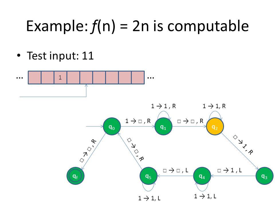 Example: f(n) = 2n is computable Test input: 11 1 …… qfqf q0q0 q1q1 q2q2 q5q5 1, R, R 1, R, R q4q4 q3q3 1, L 1 1, L, L 1 1, R