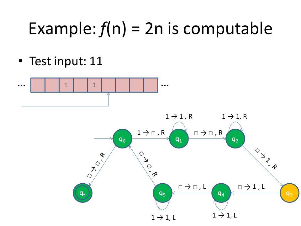 Example: f(n) = 2n is computable Test input: 11 11 …… qfqf q0q0 q1q1 q2q2 q5q5 1, R, R 1, R, R q4q4 q3q3 1, L 1 1, L, L 1 1, R