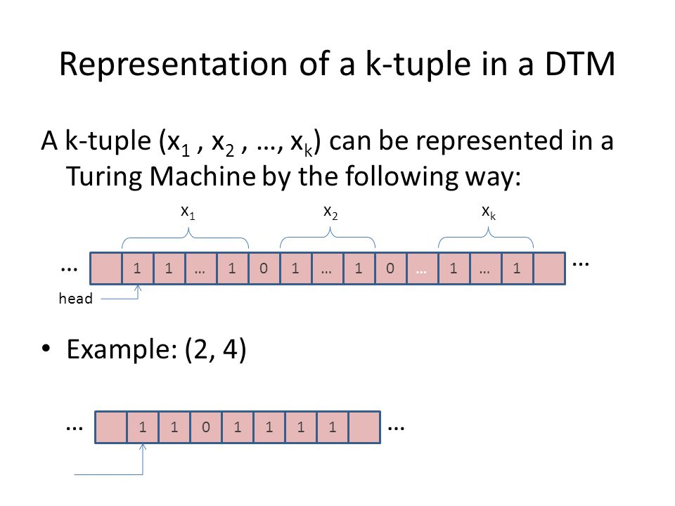 Representation of a k-tuple in a DTM A k-tuple (x 1, x 2, …, x k ) can be represented in a Turing Machine by the following way: Example: (2, 4) 11…1 …