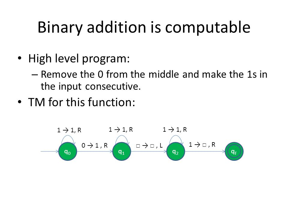 Binary addition is computable High level program: – Remove the 0 from the middle and make the 1s in the input consecutive. TM for this function: qfqf