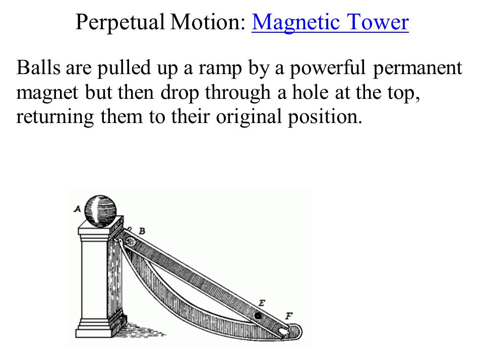 Perpetual Motion: Magnetic Tower Balls are pulled up a ramp by a powerful permanent magnet but then drop through a hole at the top, returning them to their original position.