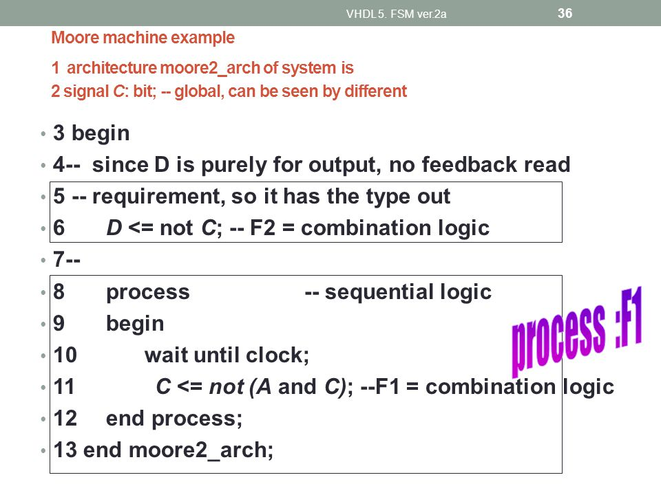 Moore machine example 1 architecture moore2_arch of system is 2 signal C: bit; -- global, can be seen by different 3 begin 4-- since D is purely for output, no feedback read 5 -- requirement, so it has the type out 6D <= not C; -- F2 = combination logic 7-- 8process-- sequential logic 9begin 10 wait until clock; 11 C <= not (A and C); --F1 = combination logic 12end process; 13 end moore2_arch; VHDL 5.