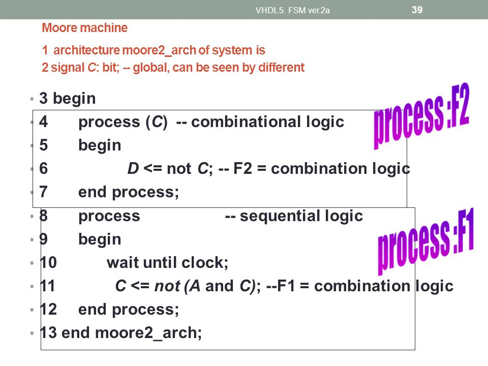 Moore machine 1 architecture moore2_arch of system is 2 signal C: bit; -- global, can be seen by different 3 begin 4process (C)-- combinational logic
