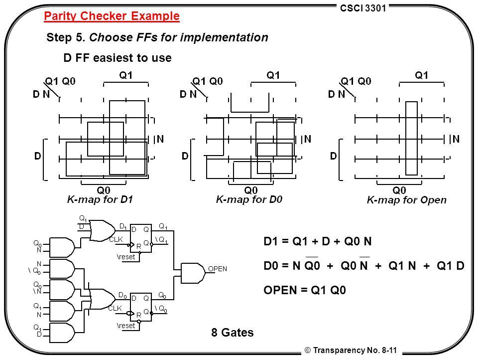 CSCI 3301 © Transparency No. 8-11 Parity Checker Example Step 5. Choose FFs for implementation D FF easiest to use D1 = Q1 + D + Q0 N D0 = N Q0 + Q0 N