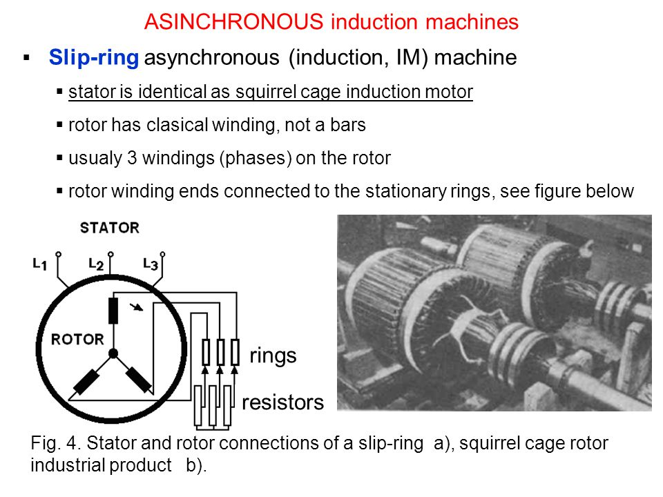Slip-ring asynchronous (induction, IM) machine stator is identical as squirrel cage induction motor rotor has clasical winding, not a bars usualy 3 windings (phases) on the rotor rotor winding ends connected to the stationary rings, see figure below ASINCHRONOUS induction machines rings resistors Fig.