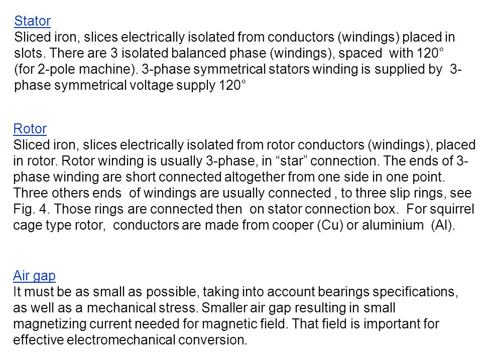 Stator Sliced iron, slices electrically isolated from conductors (windings) placed in slots. There are 3 isolated balanced phase (windings), spaced wi