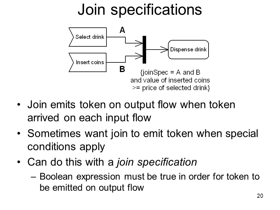 20 Join specifications Join emits token on output flow when token arrived on each input flow Sometimes want join to emit token when special conditions apply Can do this with a join specification –Boolean expression must be true in order for token to be emitted on output flow