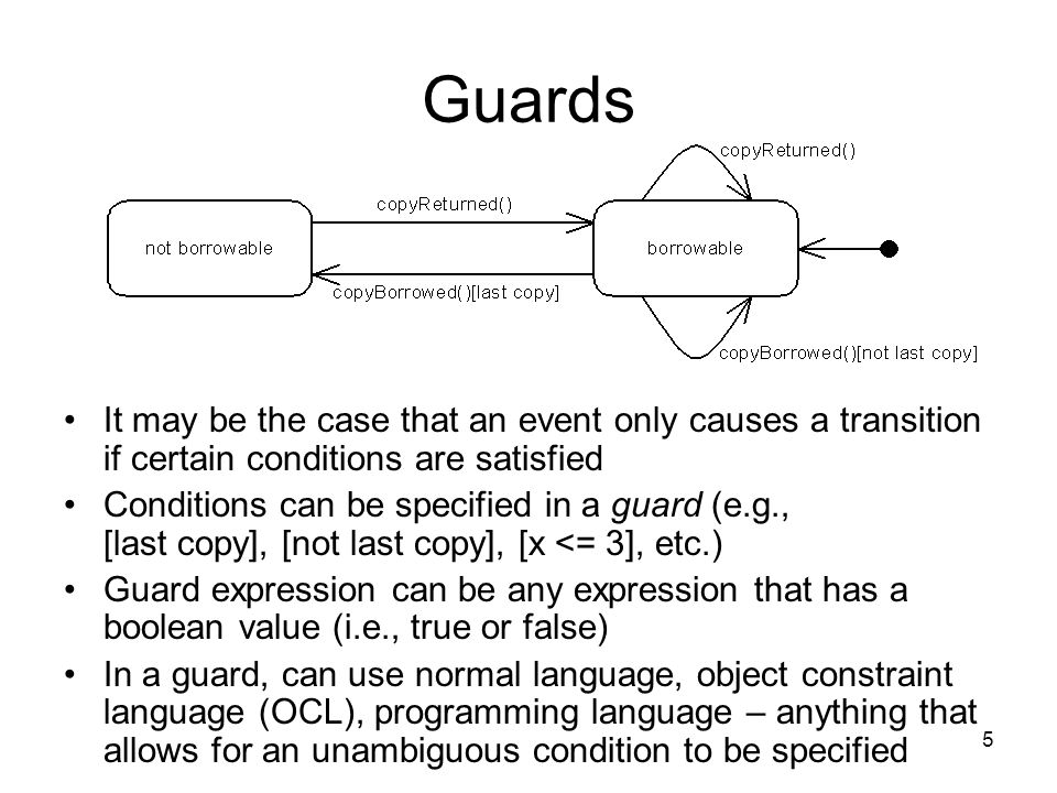 5 Guards It may be the case that an event only causes a transition if certain conditions are satisfied Conditions can be specified in a guard (e.g., [last copy], [not last copy], [x <= 3], etc.) Guard expression can be any expression that has a boolean value (i.e., true or false) In a guard, can use normal language, object constraint language (OCL), programming language – anything that allows for an unambiguous condition to be specified