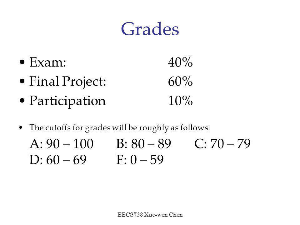 EECS738 Xue-wen Chen Grades Exam: 40% Final Project: 60% Participation10% The cutoffs for grades will be roughly as follows: A: 90 – 100 B: 80 – 89 C: 70 – 79 D: 60 – 69 F: 0 – 59