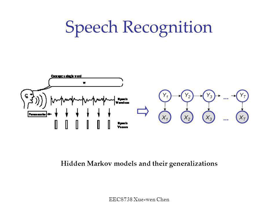 EECS738 Xue-wen Chen Speech Recognition Hidden Markov models and their generalizations
