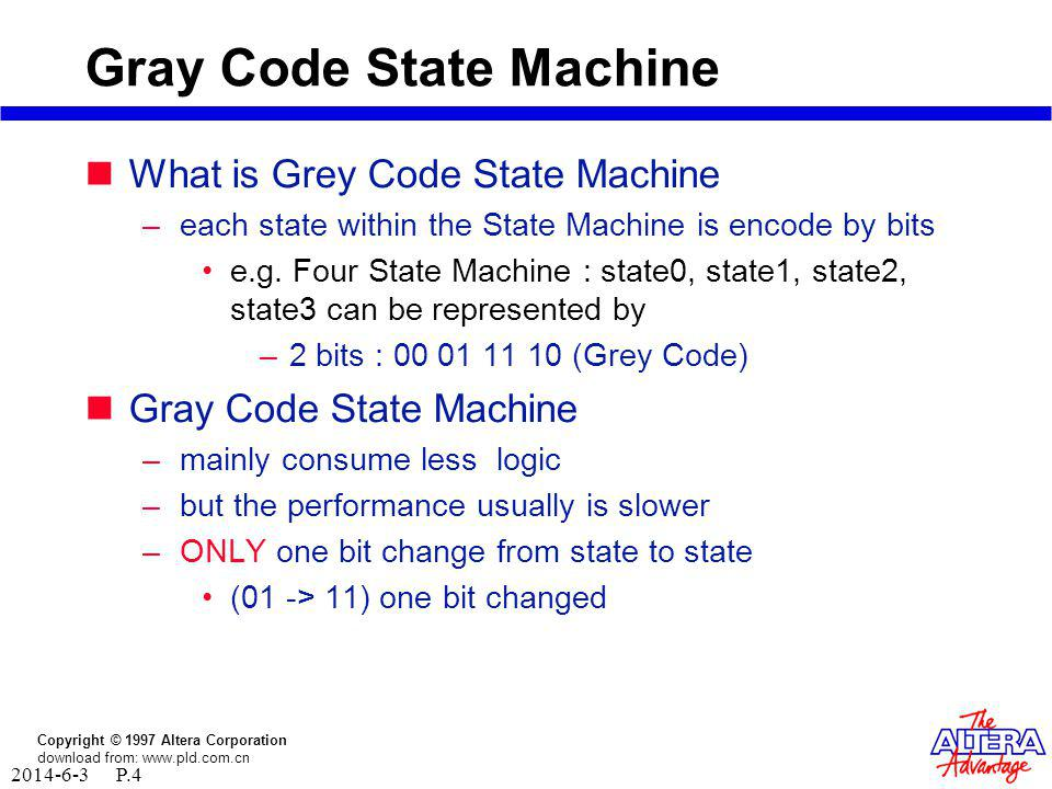 Copyright © 1997 Altera Corporation download from: www.pld.com.cn 2014-6-3 P.3 Binary State Machine What is Binary State Machine –each state within the State Machine is encode by bits e.g.