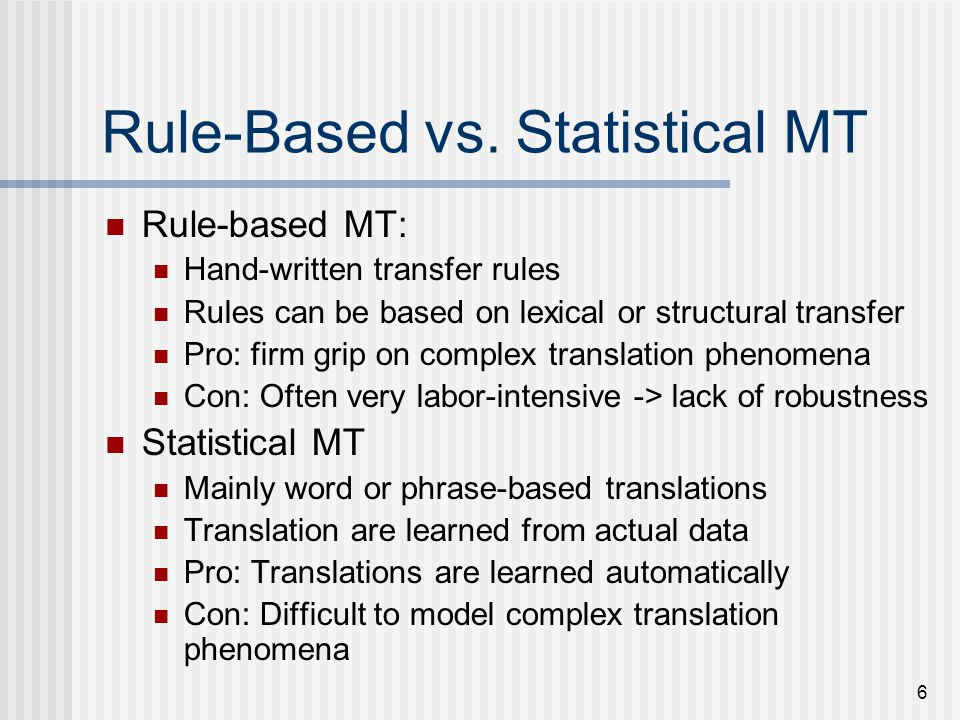 17 Translation Modeling Determines the probability that the foreign word f is a translation of the English word e How to compute P(f | e) from a parallel corpus.