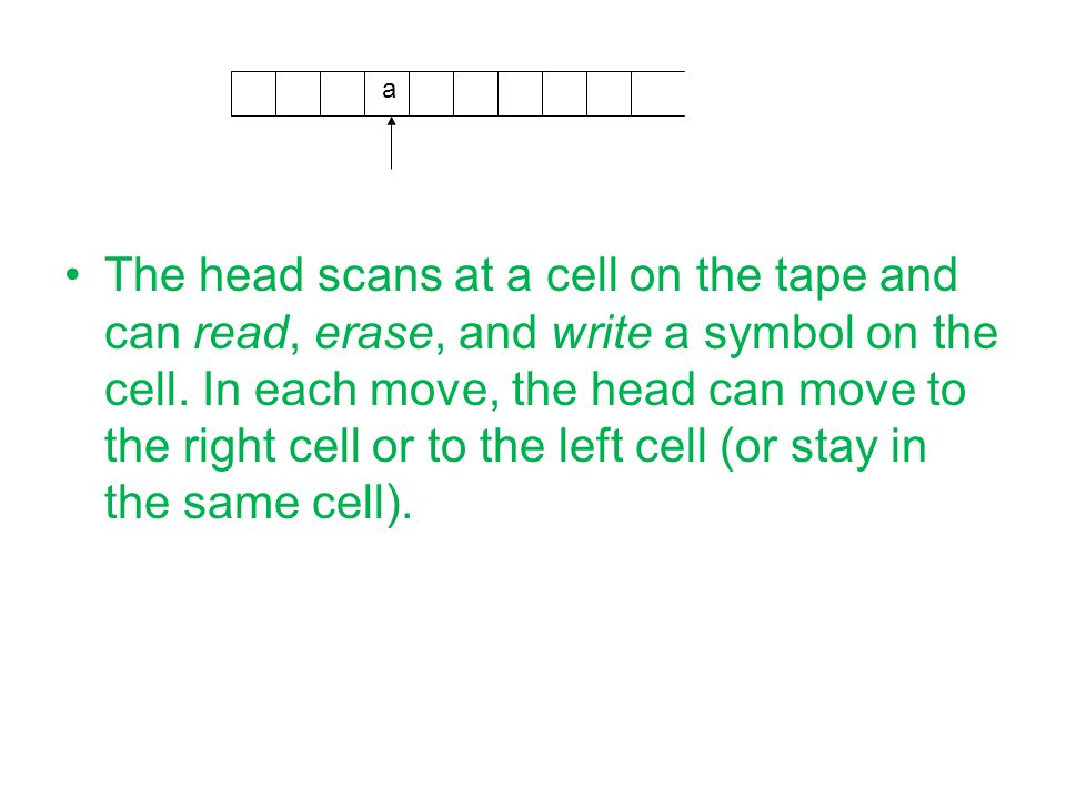 The head scans at a cell on the tape and can read, erase, and write a symbol on the cell.