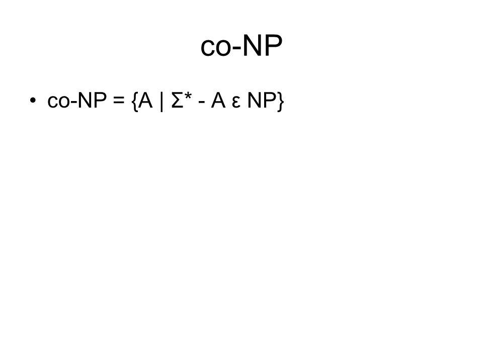 co-NP co-NP = {A | Σ* - A ε NP}