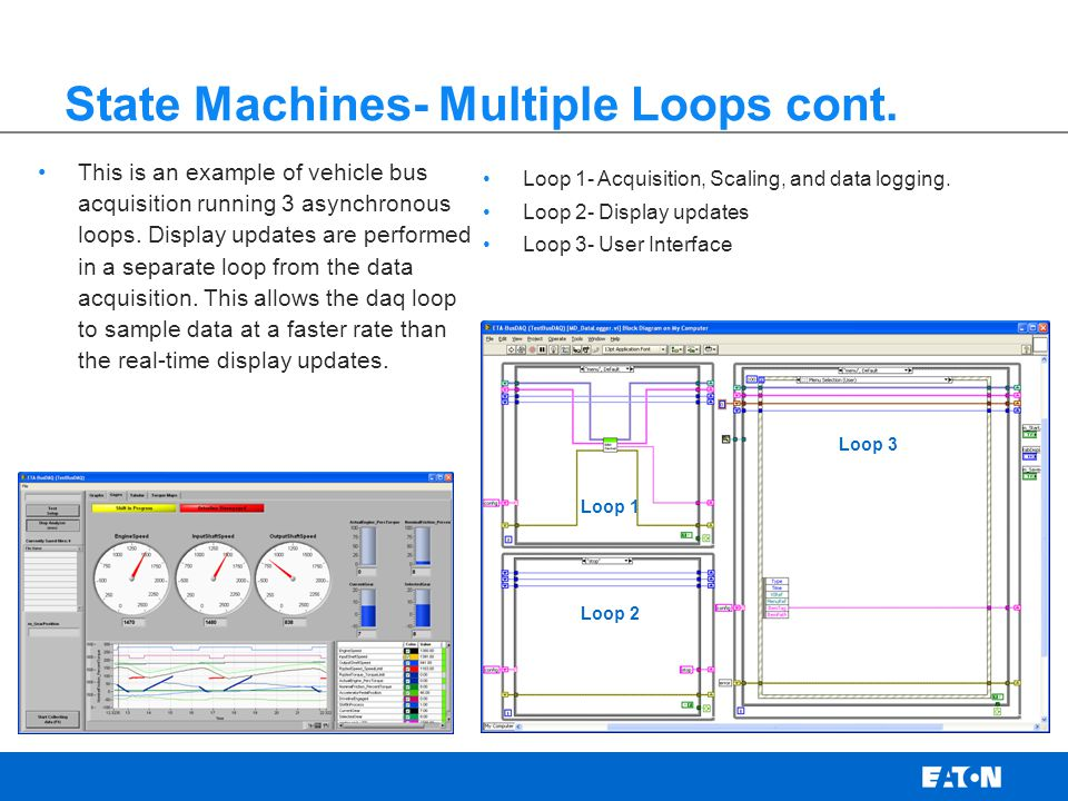 State Machines- Multiple Loops cont. Loop 1- Acquisition, Scaling, and data logging.
