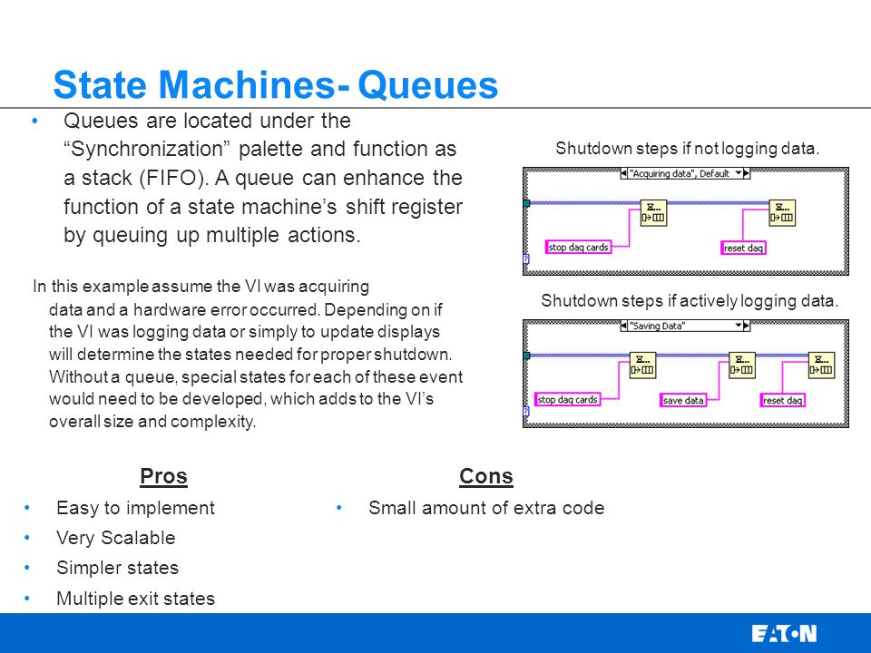State Machines- Queues Queues are located under the Synchronization palette and function as a stack (FIFO).