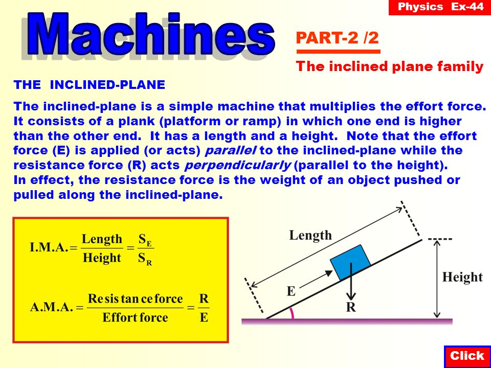 Physics Ex-44 Click PART-2 /2 THE INCLINED-PLANE The inclined-plane is a simple machine that multiplies the effort force.