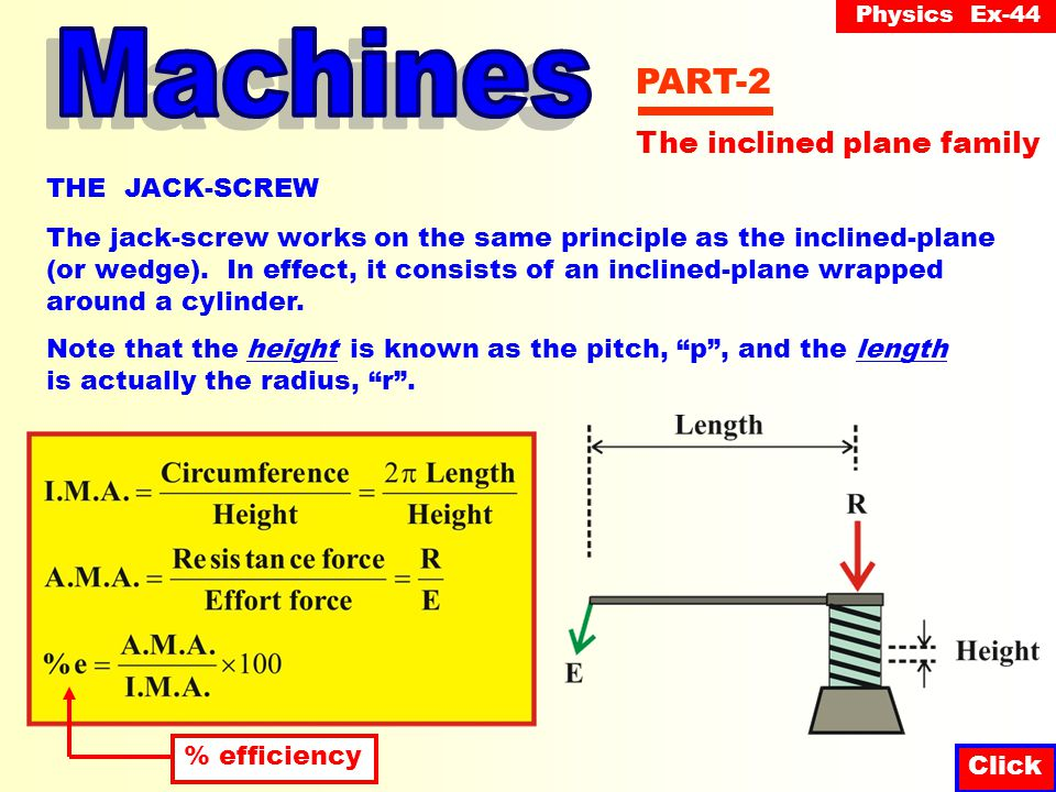 Physics Ex-44 Click PART-2 THE JACK-SCREW The jack-screw works on the same principle as the inclined-plane (or wedge).