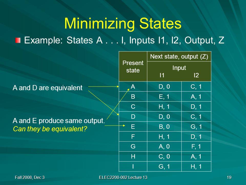 Minimizing States Example: States A...