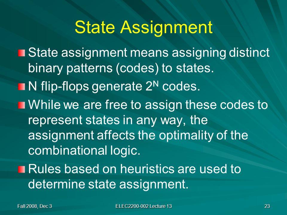 State Assignment State assignment means assigning distinct binary patterns (codes) to states.