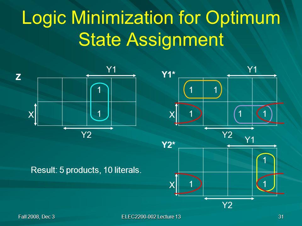 Logic Minimization for Optimum State Assignment Fall 2008, Dec 3 ELEC2200-002 Lecture 13 31 11 111 X Y1 Y2 1 11 X 1 1 X Y1 Y2 Y1 Z Y1* Y2* Result: 5 products, 10 literals.
