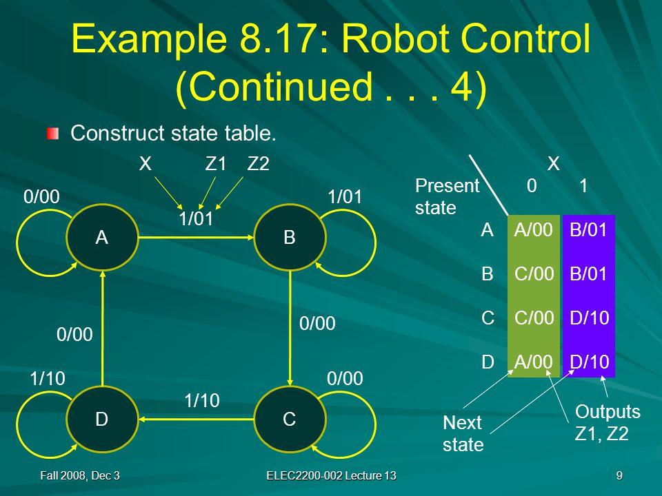 X Y1 Y2 0 1 00 01 11 10 Example 8.17: Robot Control (Continued...