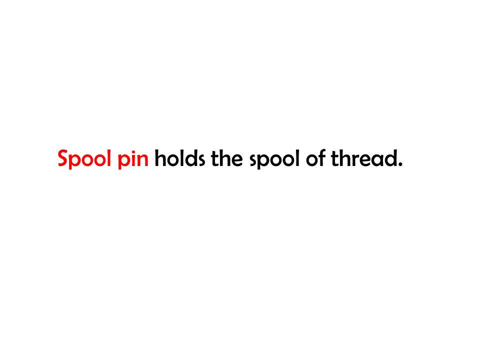 Spool pin holds the spool of thread.