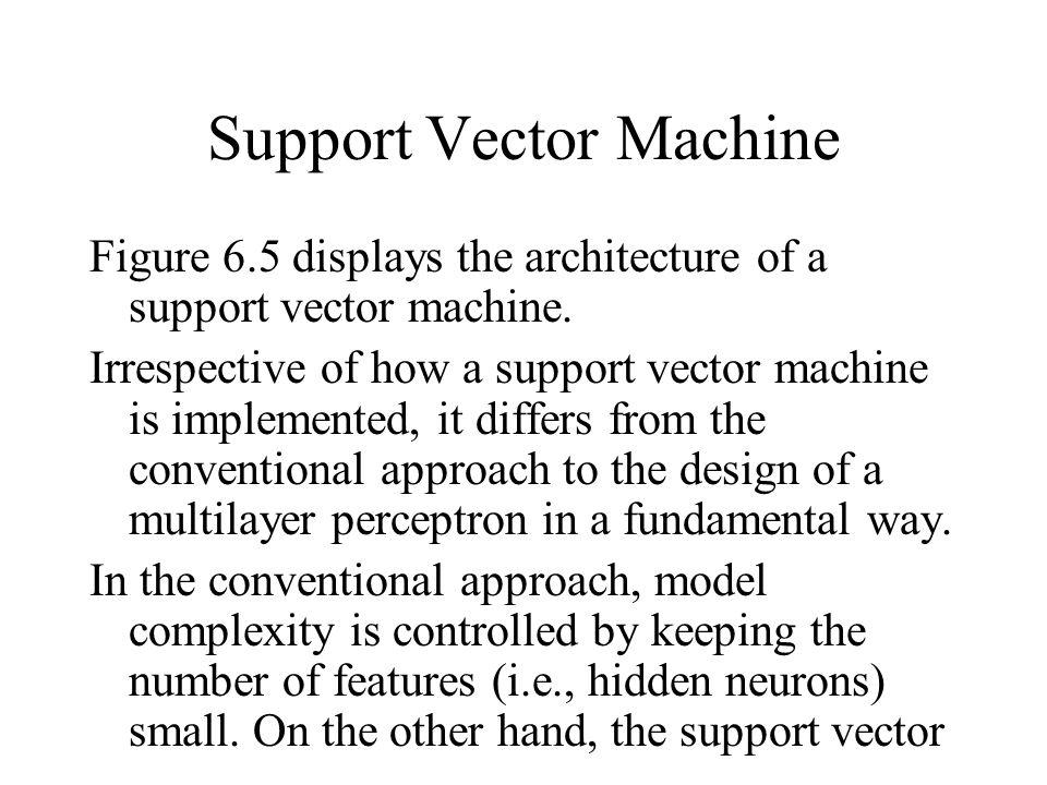 Support Vector Machine Figure 6.5 displays the architecture of a support vector machine.