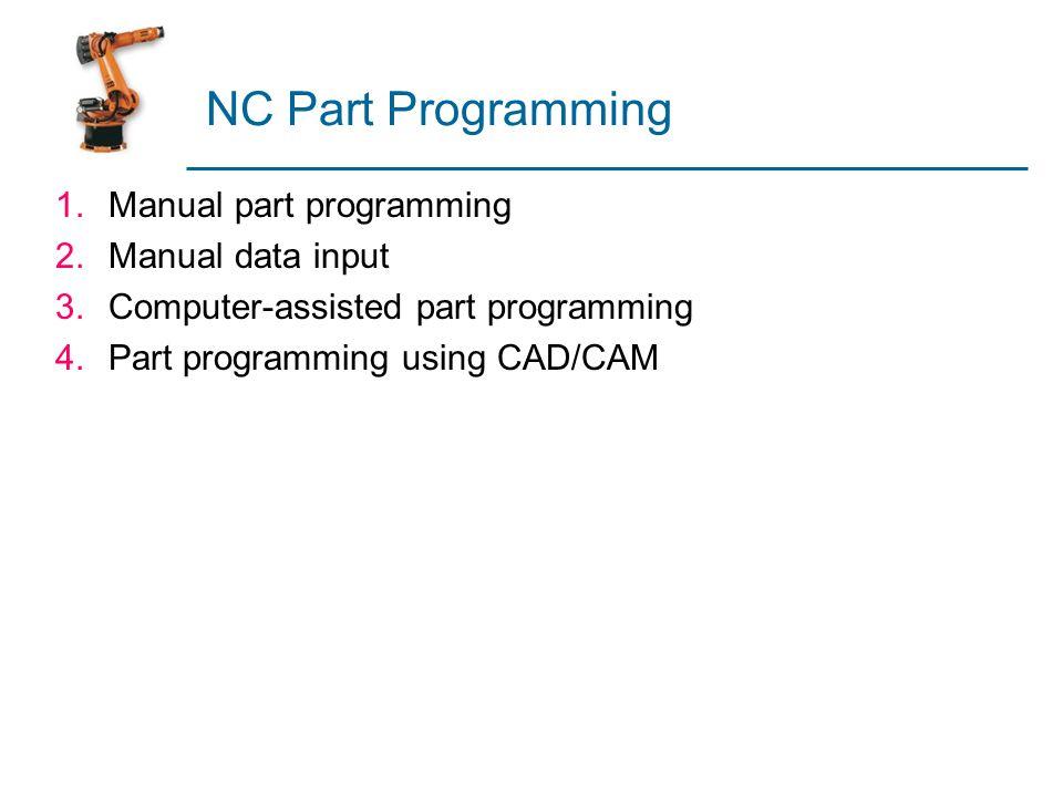 NC Part Programming 1.Manual part programming 2.Manual data input 3.Computer-assisted part programming 4.Part programming using CAD/CAM
