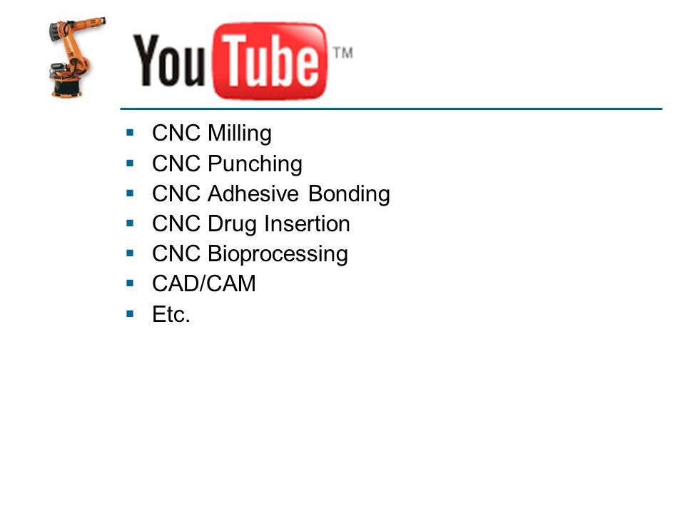 YouTube CNC Milling CNC Punching CNC Adhesive Bonding CNC Drug Insertion CNC Bioprocessing CAD/CAM Etc.