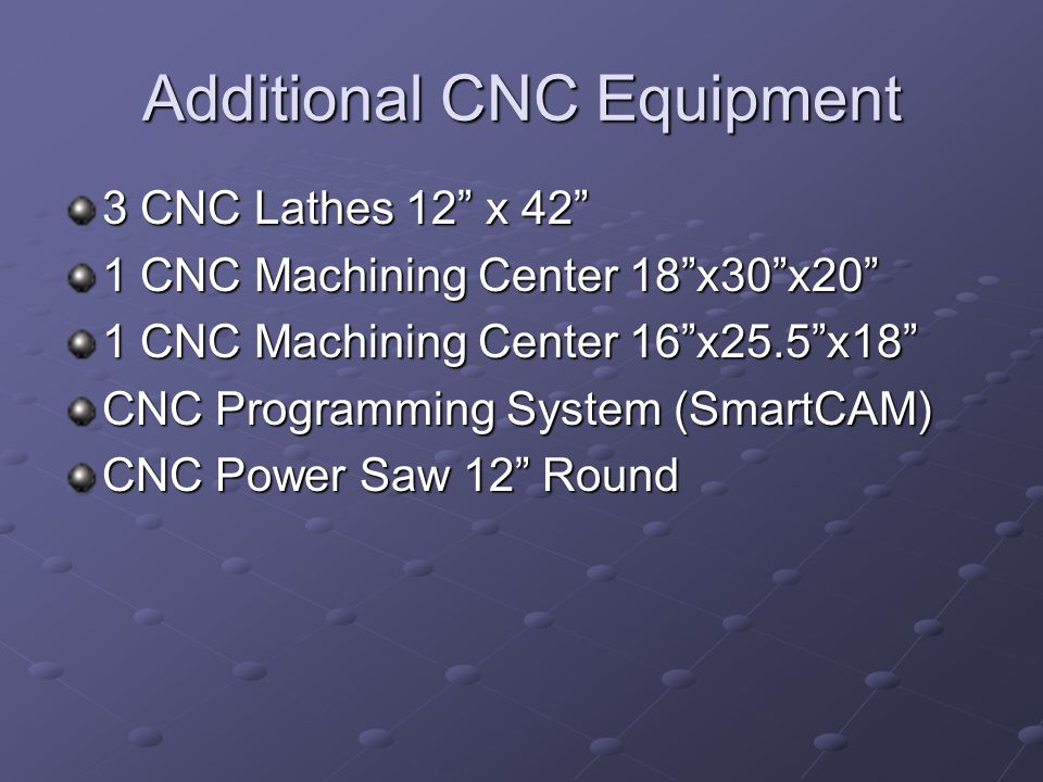 Additional CNC Equipment 3 CNC Lathes 12 x 42 1 CNC Machining Center 18x30x20 1 CNC Machining Center 16x25.5x18 CNC Programming System (SmartCAM) CNC