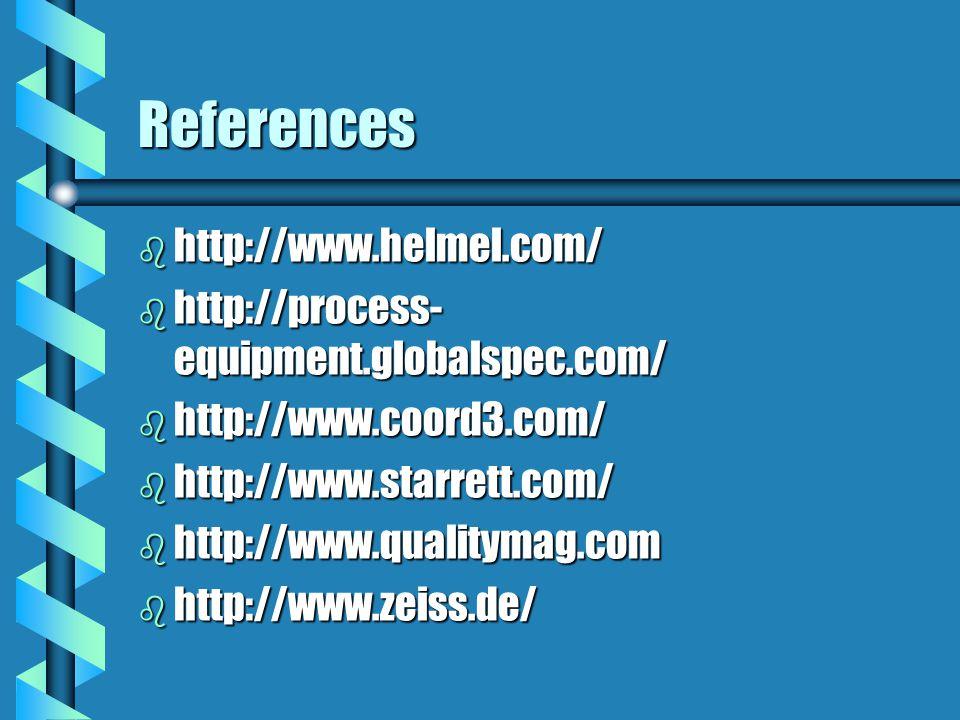 References b http://www.helmel.com/ b http://process- equipment.globalspec.com/ b http://www.coord3.com/ b http://www.starrett.com/ b http://www.quali