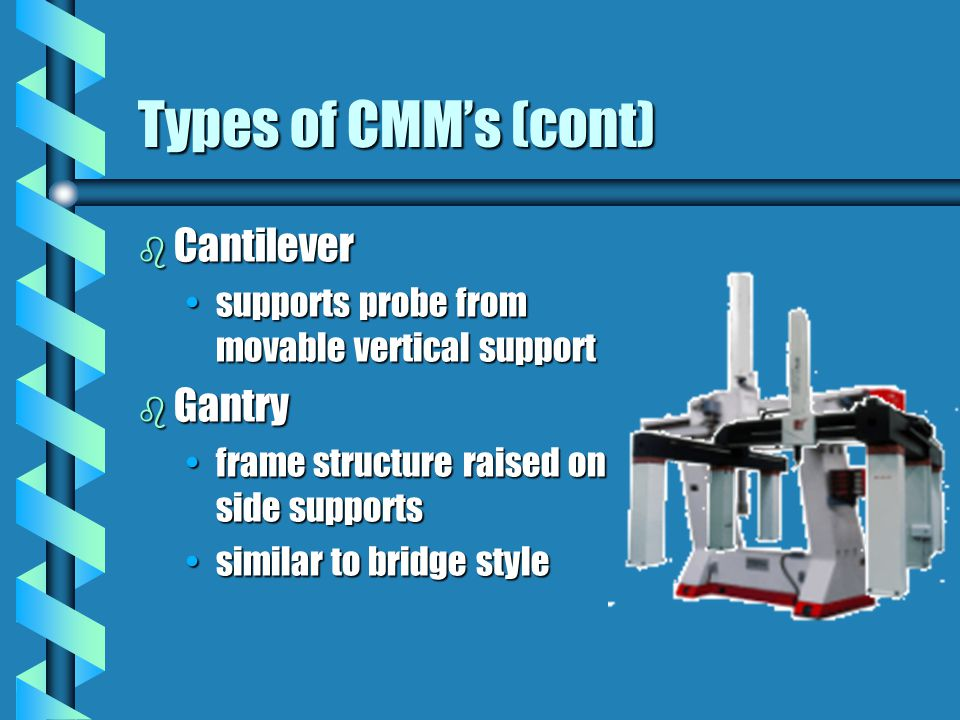 Types of CMMs (cont) b Cantilever supports probe from movable vertical supportsupports probe from movable vertical support b Gantry frame structure raised on side supportsframe structure raised on side supports similar to bridge stylesimilar to bridge style
