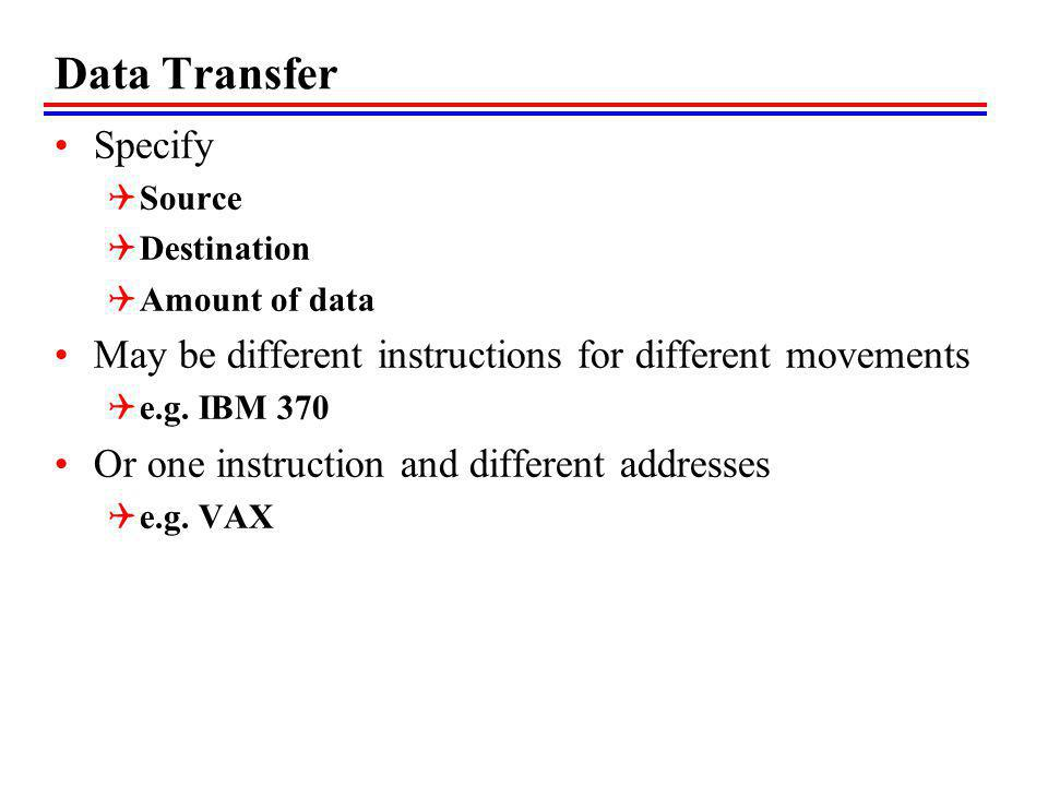 Data Transfer Specify Source Destination Amount of data May be different instructions for different movements e.g.