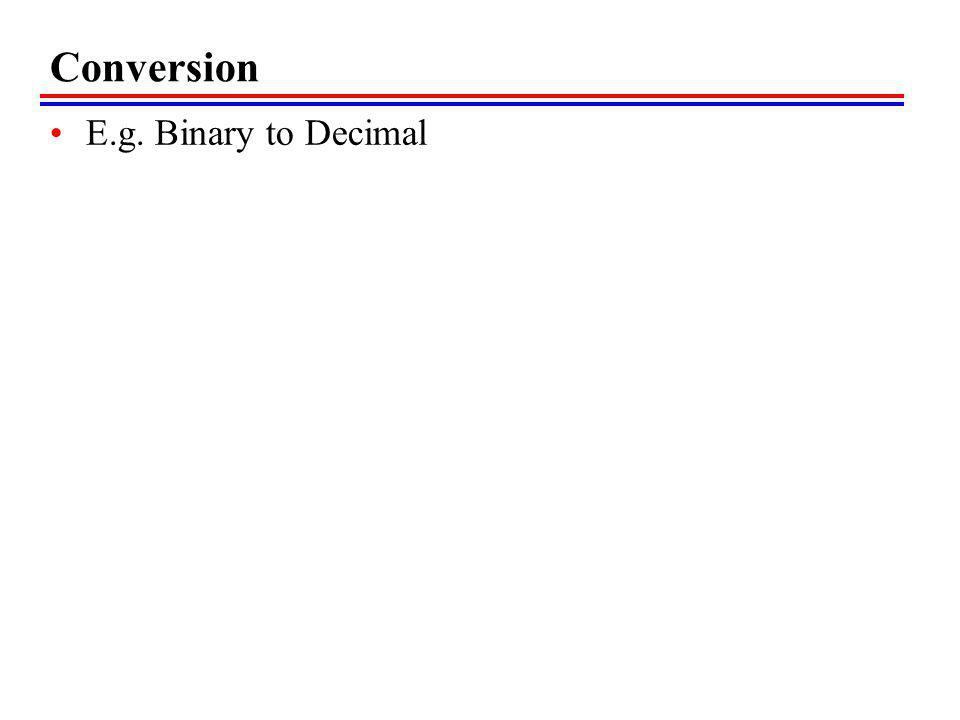 Conversion E.g. Binary to Decimal