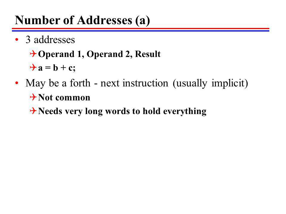 Number of Addresses (a) 3 addresses Operand 1, Operand 2, Result a = b + c; May be a forth - next instruction (usually implicit) Not common Needs very long words to hold everything