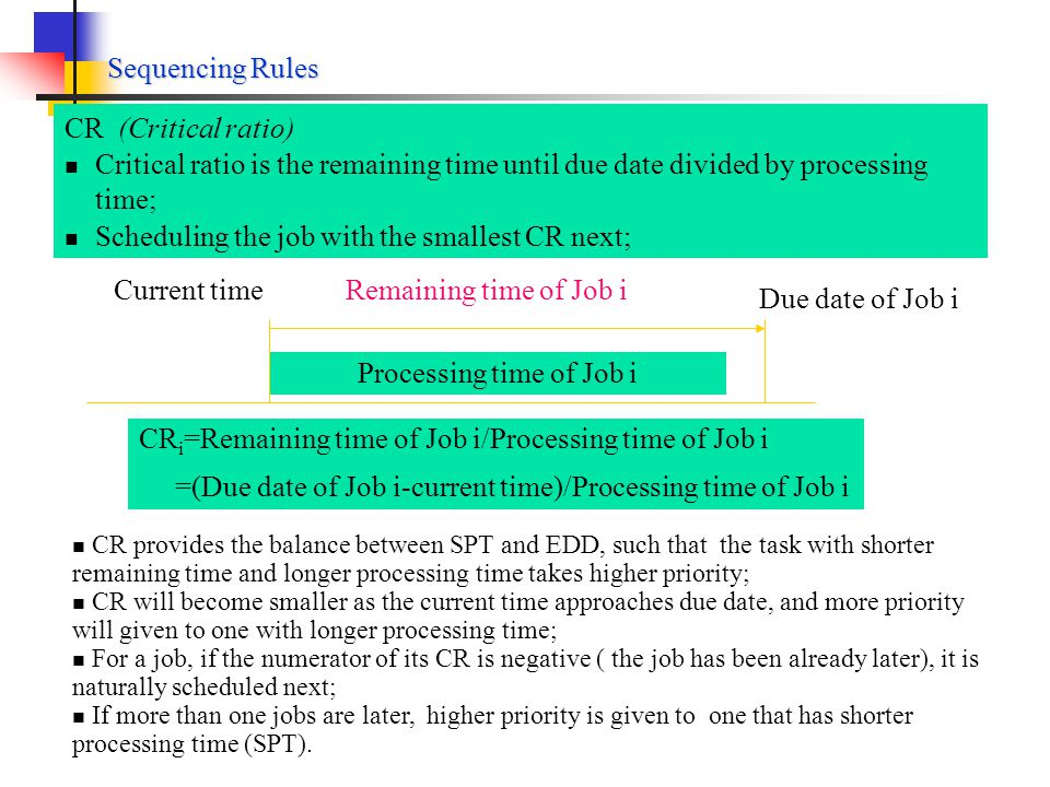 Sequencing Rules FCFS (first come-first served) Jobs are processed in the sequence in which they entered the shop; The simplest and nature way of sequencing as in queuing of a bank SPT (shortest processing time) Jobs are sequenced in increasing order of their processing time; The job with shortest processing time is first, the one with the next shortest processing time is second, and so on; EDD (earliest due date) Jobs are sequenced in increasing order of their due dates; The job with earliest due date is first, the one with the next earliest due date is second, and so on;