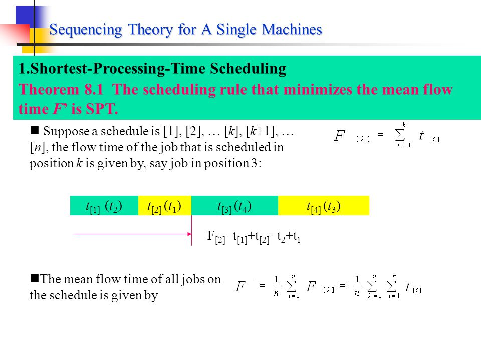 Sequencing Theory for A Single Machines Maximum Tardiness Mean Flow Time For only a single machine, every schedule can be represented by a permutation