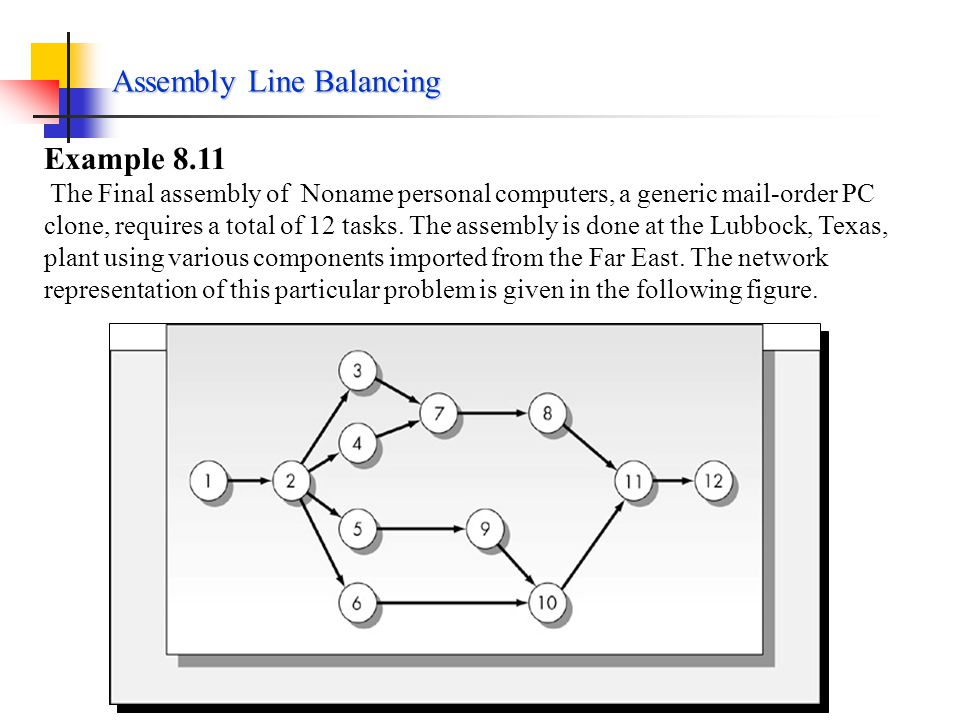 Assembly Line Balancing For a cycle time of C, the minimum number of workstations possible is [T/C], where the brackets indicate that the value of T/C is to be rounded to the next larger integer.