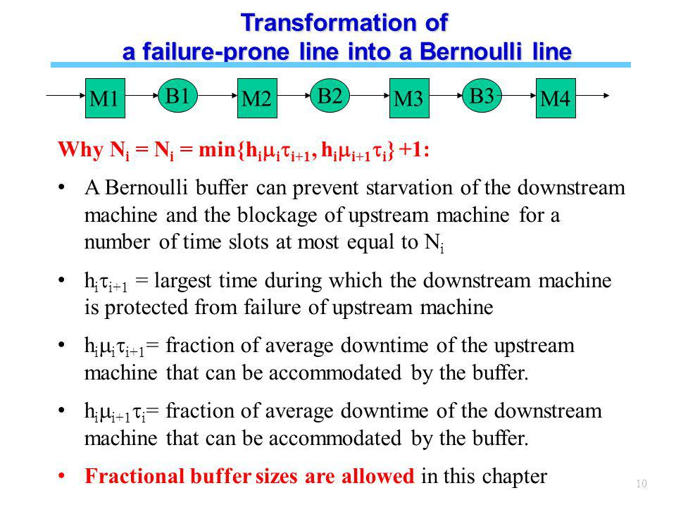 10 Transformation of a failure-prone line into a Bernoulli line M1 B1 M2 B2 M3 B3 M4 Why N i = N i = min{h i i i+1, h i i+1 i } +1: A Bernoulli buffer can prevent starvation of the downstream machine and the blockage of upstream machine for a number of time slots at most equal to N i h i i+1 = largest time during which the downstream machine is protected from failure of upstream machine h i i i+1 = fraction of average downtime of the upstream machine that can be accommodated by the buffer.
